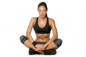 Woman sitting in a fitness position